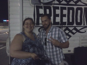 My wife, Susan, with Adam Kokesh. She got to meet him when she picked me up.